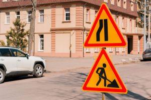 Zwężenie jezdni – znaki ostrzegawcze A-12a, A-12b, A-12c