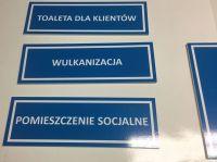 Tabliczki na drzwi, oznakowanie pomieszczeń Toaleta dla klientów, Wulkanizacja, Pomieszczenie socjalne,...