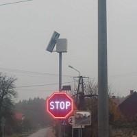 Znak aktywny podświetlony B-20 Stop z panelem słonecznym