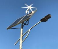 Hybrydowy układ - panel słoneczny, turbina wiatrowa lampy ulicznej