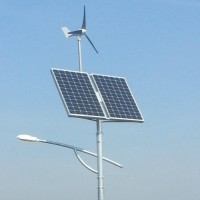 Hybrydowe oświetlenie ulicy - panel słoneczny, turbina wiatrowa