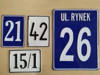 Tablica tłoczona informacyjna - nazwa uliczy, numer domu i posesji - na zamówienie