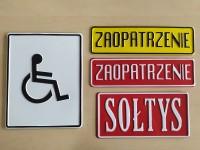 Tablica tłoczona informacyjna - miejsce dla niepełnosprawnych, sołtys, zaopatrzenie