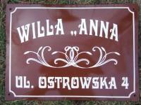 Tabliczka adresowa, emaliowana z adresem, nazwą ulicy oraz numerem, willa, posesja, obiekt