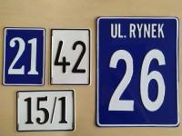 Tabliczka adresowa, tłoczona, aluminiowa, wypukła z adresem, nazwą ulicy oraz numerem, ozdobna - na zamówienie