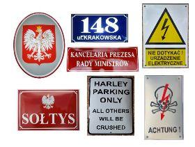 Emaliowane tablice metalowe, wypukłe, szyldy, herby, tabliczki loft na zamówienie