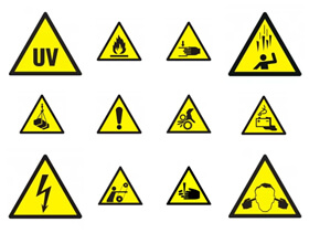 Naklejki ostrzegawcze BHP i na maszyny