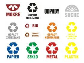 Segregacja śmieci i odpadów - tablice informacyjne, piktogramy i oznaczenia