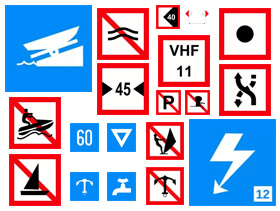 Znaki żeglugi śródlądowej - nawigacyjne wodne